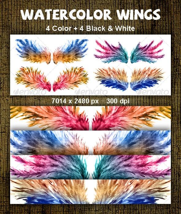 Watercolor Wings - Decorative Symbols Decorative