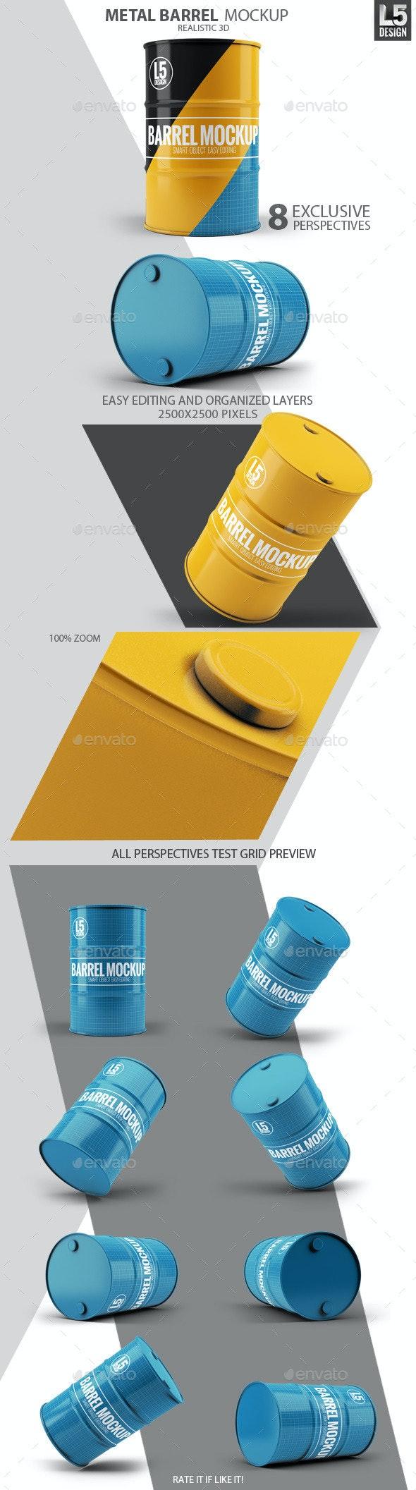 Metal Barrel Mock-Up - Miscellaneous Product Mock-Ups