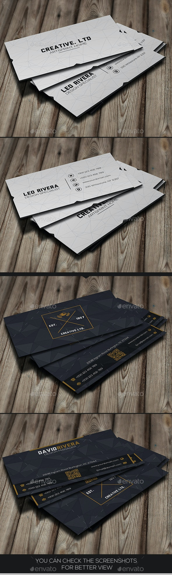 Bundle - Black & White Modern - Business Cards Print Templates