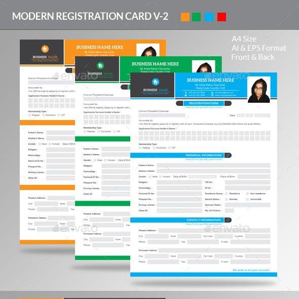 Modern Registration Card V-2