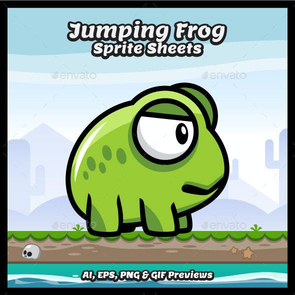 Jumping Frog Sprite Sheets Game Character