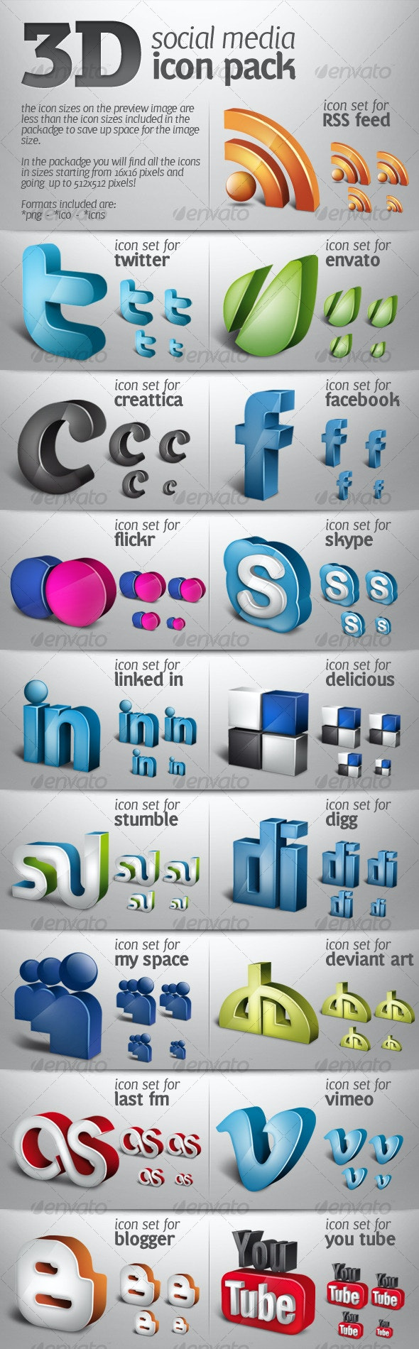 3D social media icons pack 01 - Miscellaneous Icons