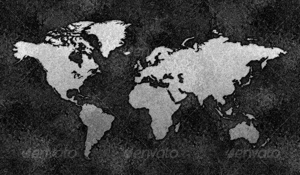 Embossed Metal World Map - Backgrounds Graphics