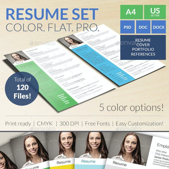 Colorful Flat Resume Set