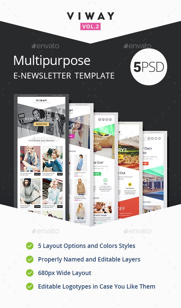 Viway Multipurpose E-newsletter Template Vol.2 - E-newsletters Web Elements