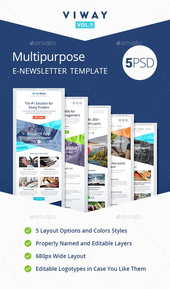 Viway Multipurpose E-newsletter Template Vol.1 - E-newsletters Web Elements