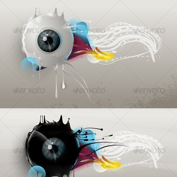 Human eye with abstract elements and forms
