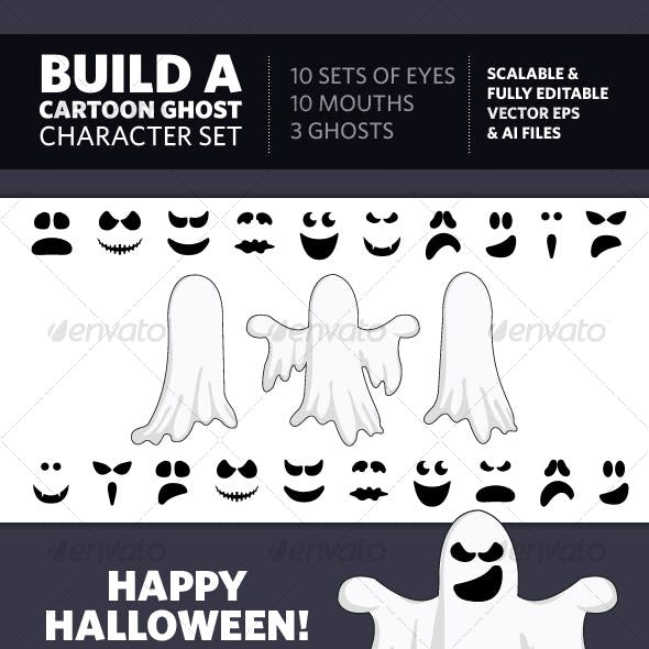 Build A Cartoon Ghost Character Set