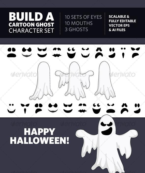 Build A Cartoon Ghost Character Set - Characters Vectors