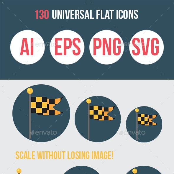 130 Universal Flat Icons