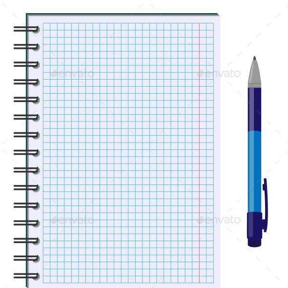 Blank Paper Sheet with Pen Isolated on White