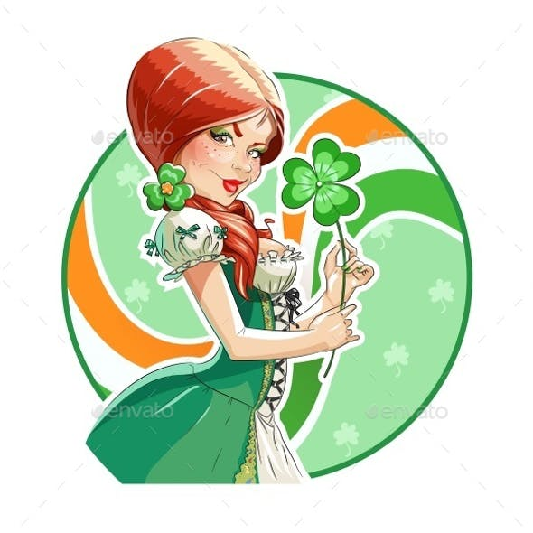 Beautiful Girl with Shamrock for Saint Patricks