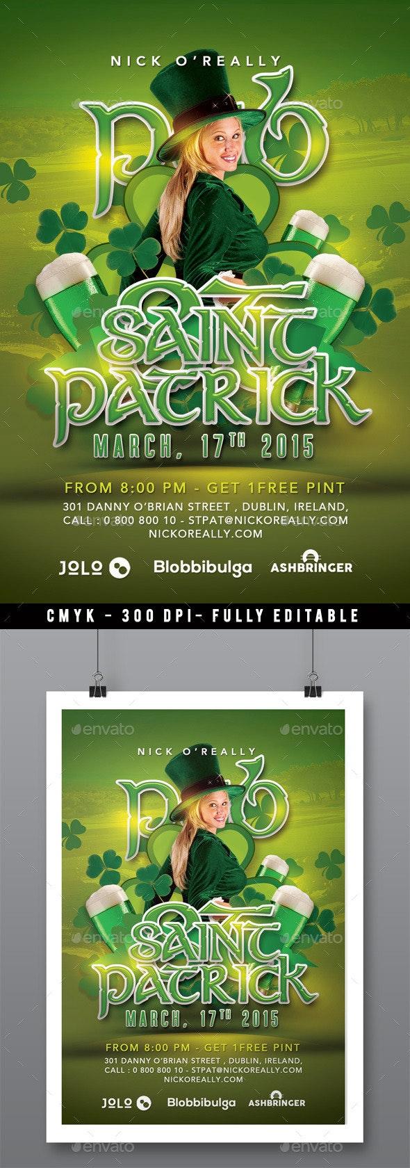 New Saint Patrick Day Celebration In Pub - Events Flyers