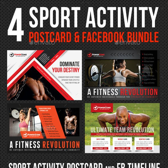 4 in 1 Sport Activity Postcard and FB Bundle 02