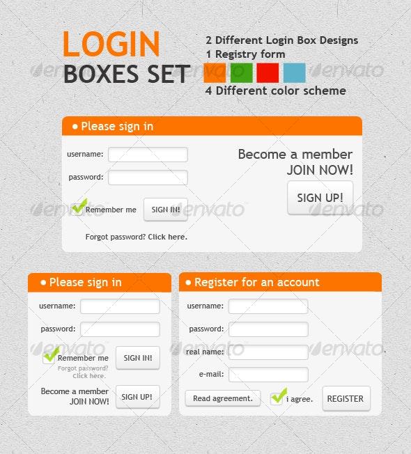 LOGIN BOXES SET - Forms Web Elements