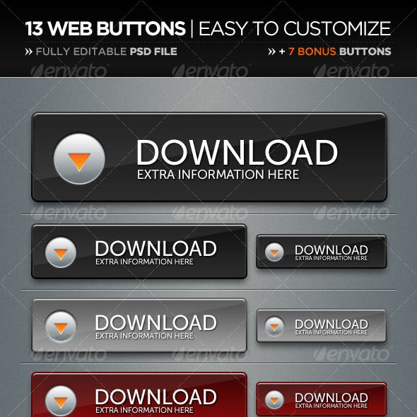 13 Web Buttons and 7 Bonus Buttons