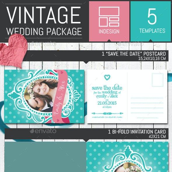 Pois Vintage Wedding Invitation Pack Template