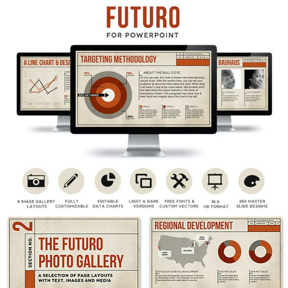 Futuro Powerpoint Presentation Template| Customizable PPT Layouts with Bauhaus Design