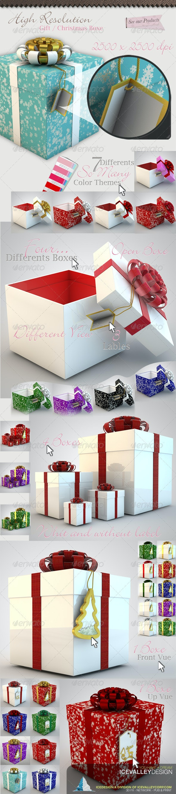 50 Christmas Gift Box Hi Quality - 3D Backgrounds