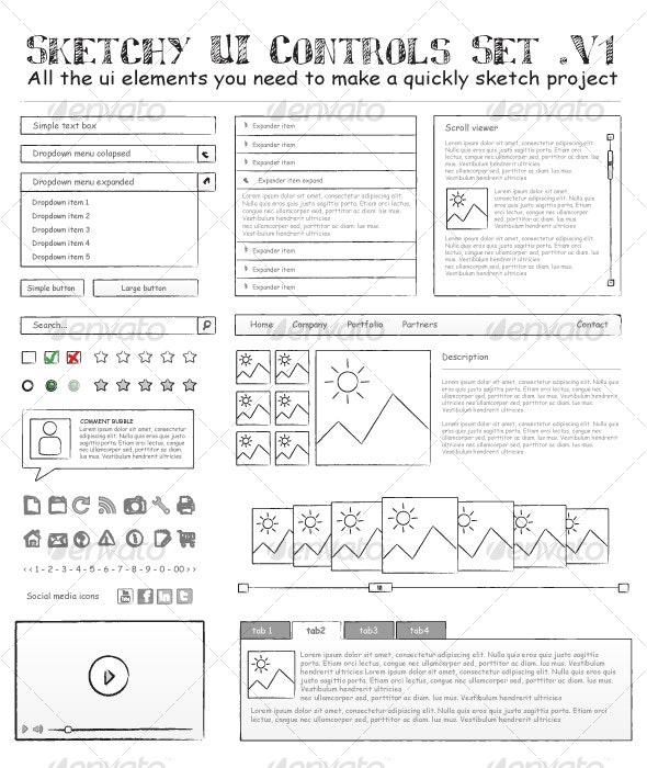 Sketchy UI Controls Set .V1 - Web Elements