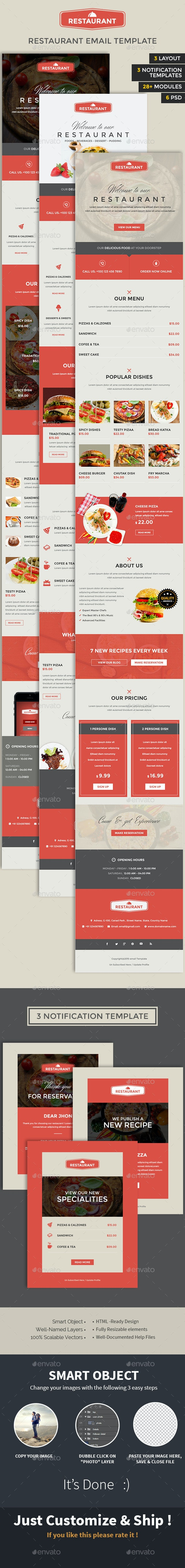 Restaurant Email PSD Template  - E-newsletters Web Elements