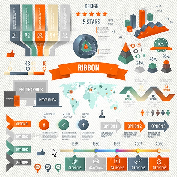 Infographics Set with Options. Business Icons  - Infographics