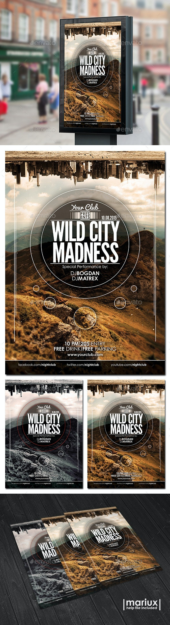 Wild City Madness Flyer Poster - Clubs & Parties Events