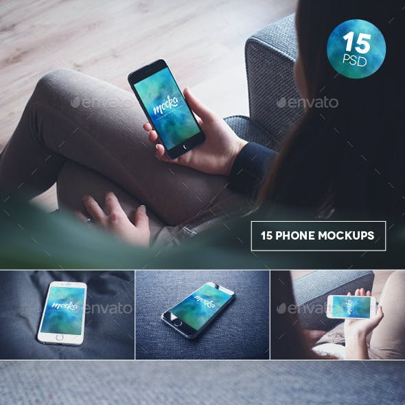15 Phone 6 Black & White Mockups