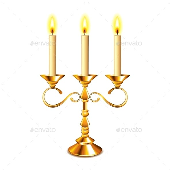 Retro Candlestick with Candles