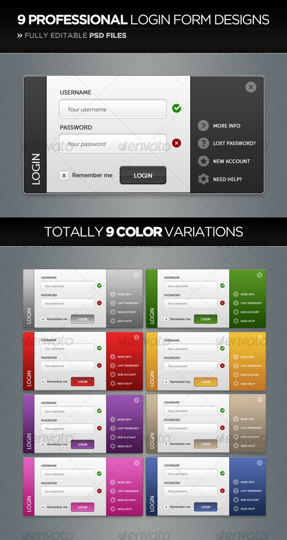 Professional Login Form Design in 9 Color-Styles - Forms Web Elements