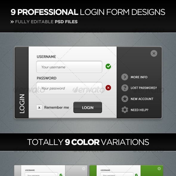 Professional Login Form Design in 9 Color-Styles