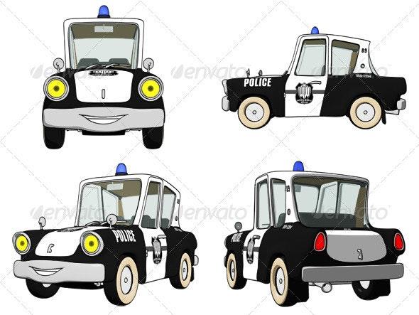 Cartoon Police Car - Objects Illustrations