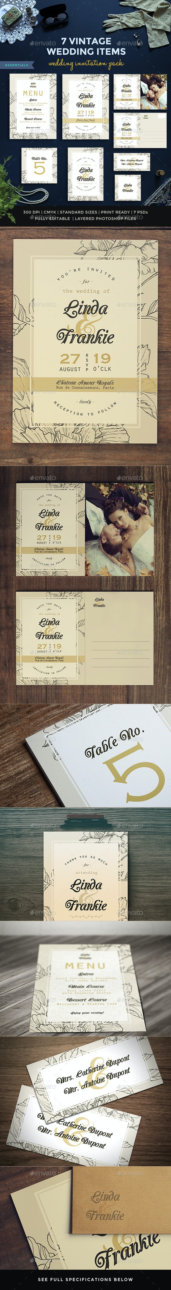 7 Vintage Items - Wedding Pack II - Weddings Cards & Invites