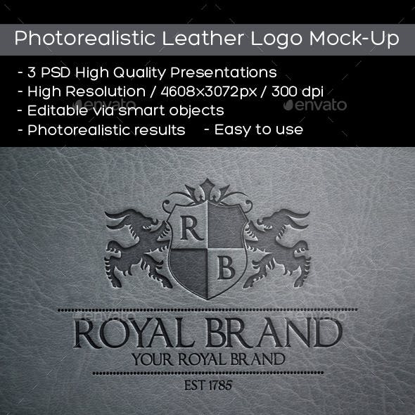Photorealistic Leather Logo Mock-Up