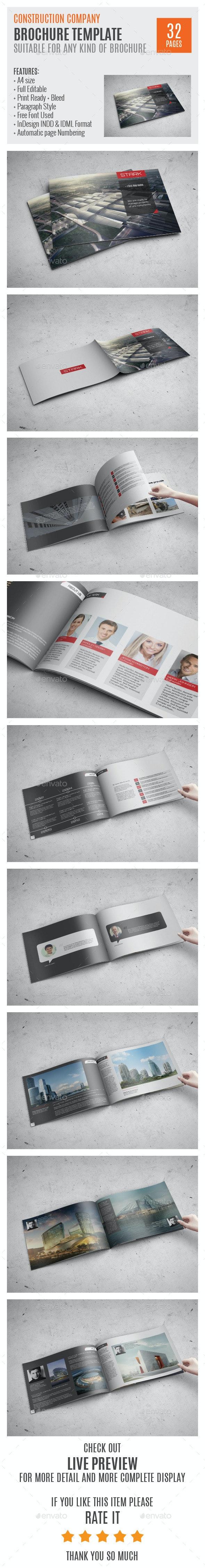 Construction Company A4 Profile Template 0039 - Brochures Print Templates