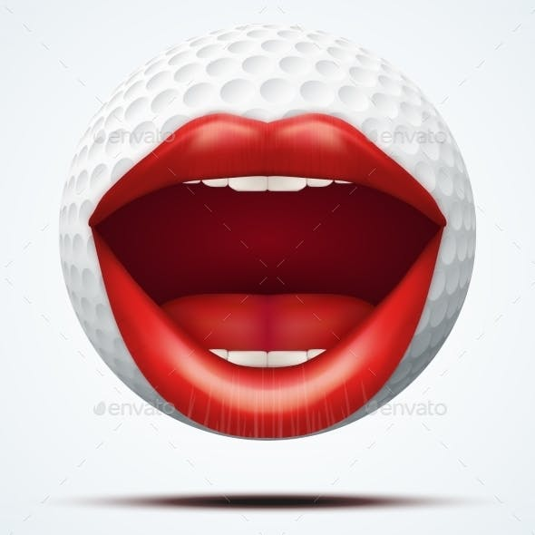 Golf Ball with a Female Mouth