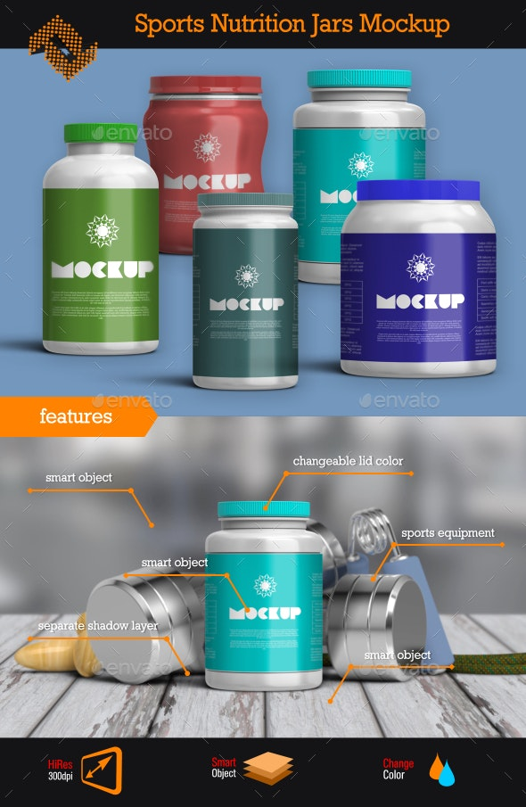 Sports Nutrition Jars Mockup - Packaging Product Mock-Ups
