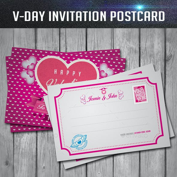 Valentines Day Invitation Postcard