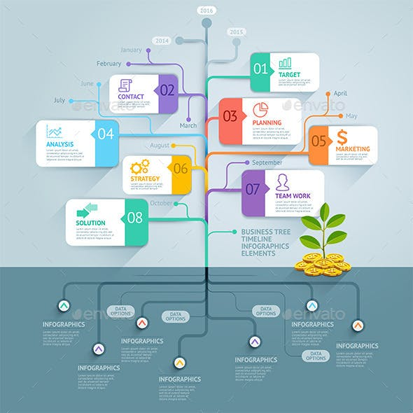 Business Tree Timeline Infographics