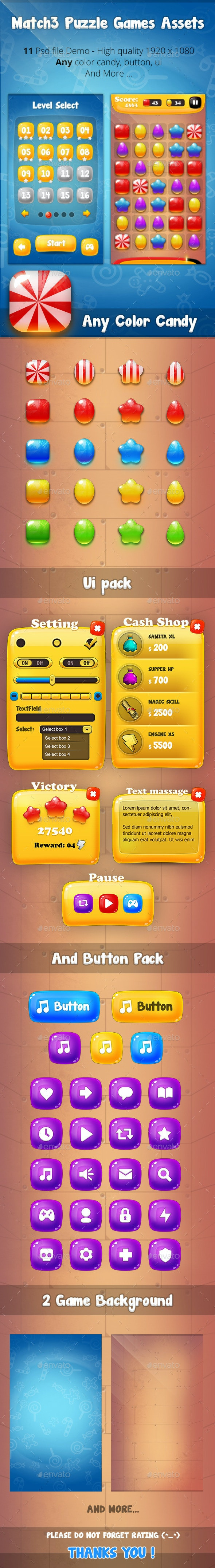 Match3 Puzzle Games Assets V1 - Game Kits Game Assets