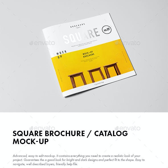 Square Brochure / Catalog / Booklet Mock-up