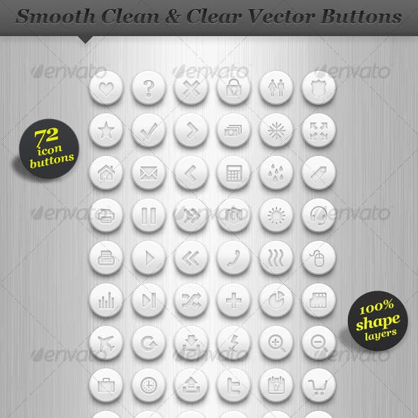 Clean white round icon set vector web buttons