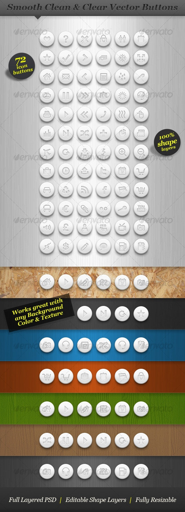 Clean white round icon set vector web buttons - Buttons Web Elements