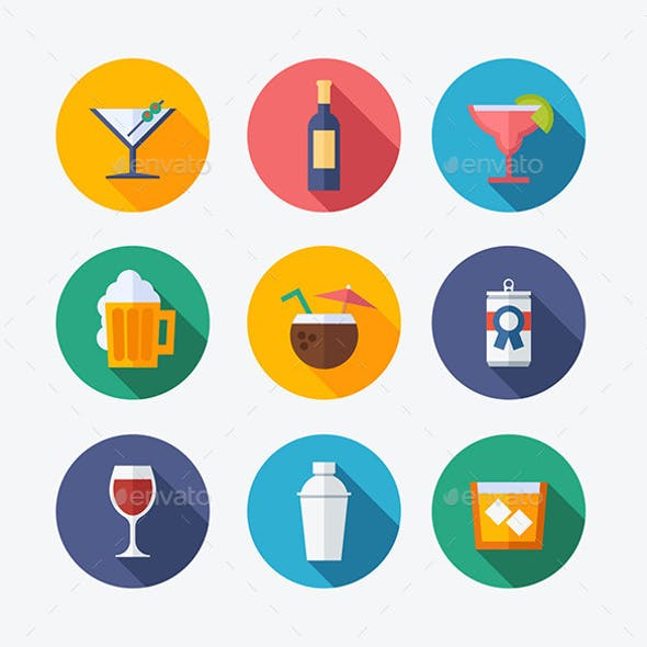 Cocktail Flat Icons