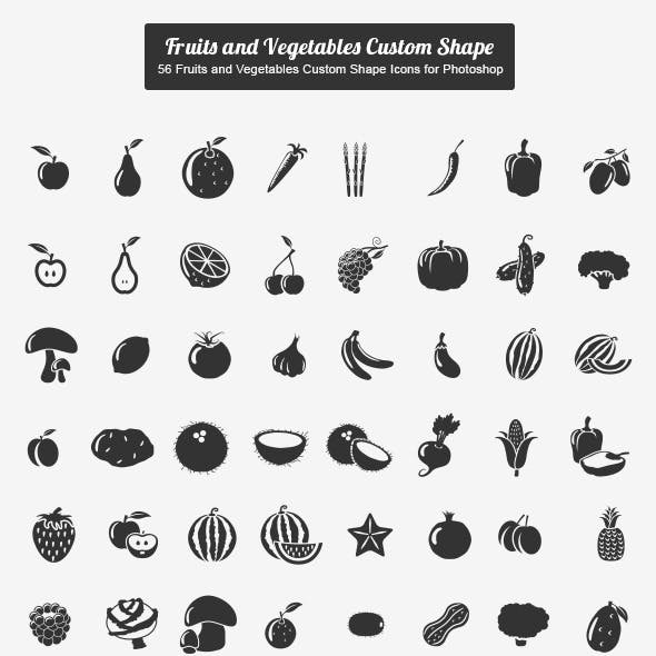 56 Fruits and Vegetables Custom Shape Icons