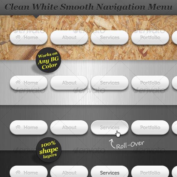 Clean White Smooth Navigation Menu Web Buttons