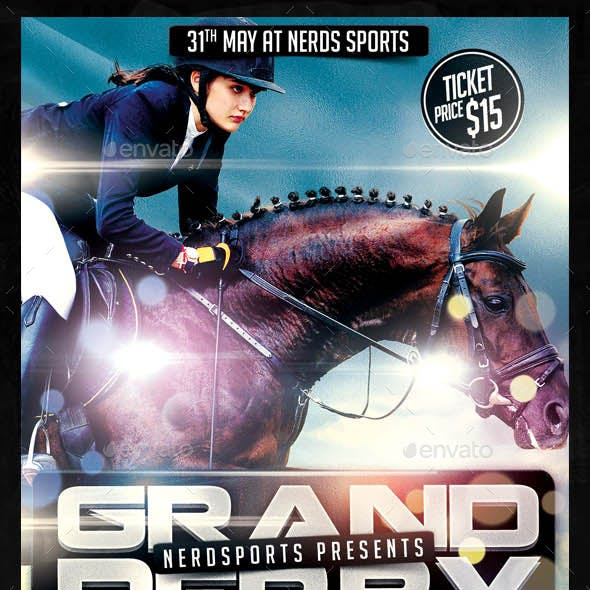 Grand Derby Horse Racing Championships Sport Flyer