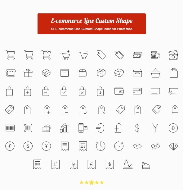 67 E-commerce Line Custom Shape Icons - Shapes Photoshop