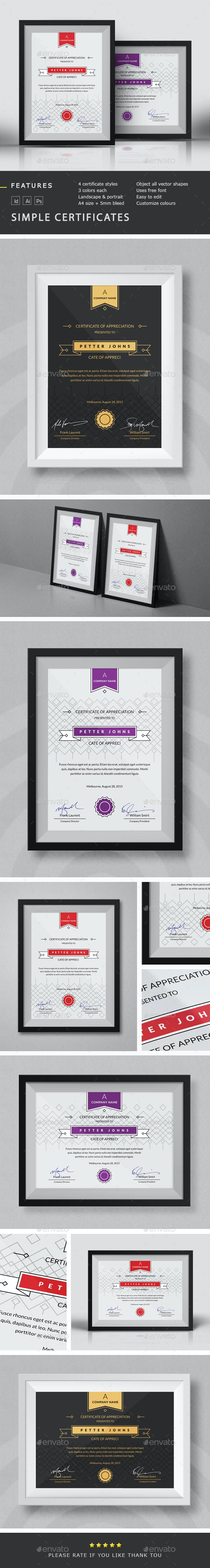 Simple Certificates Template - Certificates Stationery