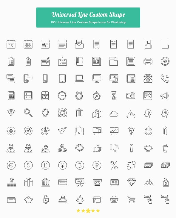 100 Universal Line Custom Shape Icons - Shapes Photoshop